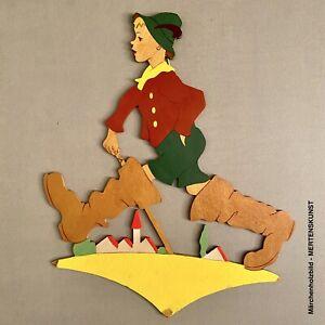 1940er Mertenskunst: Handgemalte Gelbsockel-Figur 24cm Märchenholzbild Vintage