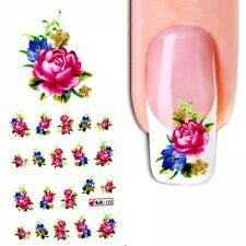 J162 NAGELSTICKER ROSEN BLÜTEN GLITTER rosa water transfer Tattoo Aufkleber