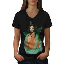 Wellcoda 420 Weed God Womens V-Neck T-shirt, Reggae Graphic Design Tee