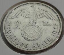 Germany 2 REICHSMARK SILVER MARK HINDENBURG SWASTIKA 1937 F Third Reich