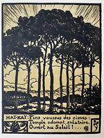 Pierre Gusman Gravure sur bois Woodcut Les Pins Parasol Arbre Haï Kai