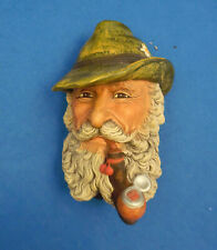Tyrolean Man Bust: Vtg 1972 Bossons Chalkware Bearded Bavarian Pipe Wall Hanging