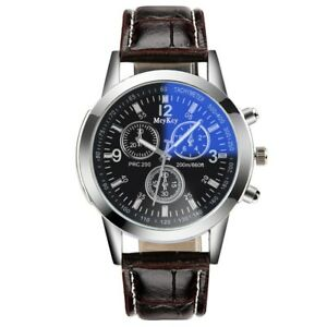 New Fashion Men's Black Leather Band Stainless Steel Analog Luxury Wristwatch