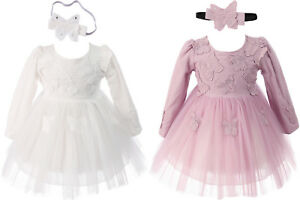 Baby Long Sleeves Party Christening Dress and Headband  0 3 6 12 18 24 Months