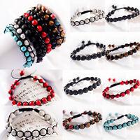 Men Women 8mm Natural Lava Beads Bracelets Tiger Eye Adjustable Macrame Bracelet