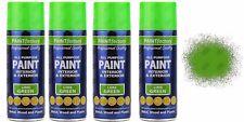 4 x All-Purpose Aerosol Spray LIME GREEN Paints 400ml Exterior Interior 400ml.