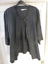 Ladies Black Linen Long Sleeved Jacket Size Large (14)
