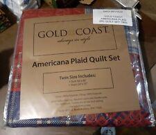 Gold Coast Americana Plaid Quilt 2 Piece Set - Twin 1 Quilt/1 Sham - Free S&H!