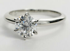 1.10 CT CLASSIC ROUND DIAMOND ENGAGEMENT RING IN 18K WHITE GOLD HALLMARKED