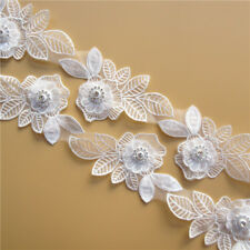 5X Flower Embroidered Lace Edge Trim Ribbon Wedding Applique DIY Sewing Craft
