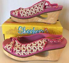 News Sketchers Love Hate Scarlett Women Wedge Shoes Cork Heart Strap Size 9