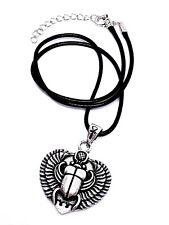EGIPCIO CON ALAS Escarabajo KHEPER Colgante Ankh Enganche cordón collar