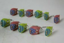Owl Resin Shower Curtain Hooks Set of 11 Pink and Green