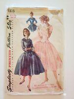 1950's Vintage Sewing Pattern Drop Waist Dress size 12 bust 32 Simplicity formal