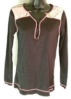 REALTREE Women's Pink Camo Long Sleeve Henley Shirt Size S Black N8
