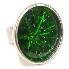 SoHo® großer Ring cup 40mm handgemachter Glasstein 70er Jahre peridot space age