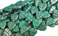 25 TURQUOISE LUSTER CZECH GLASS LEAF BEADS 10MM