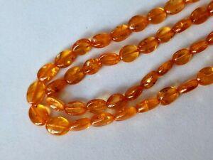 "Natural Mandarin Orange Garnet Oval Nugget small Tumbled stones 8"" Half Strand"