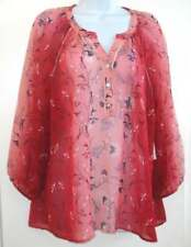 NWT Style & Co. Folk Essence Tropic Red Women's Long Sleeve Blouse Size M $54.50