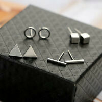 Trendy 4pair Geometric Triangle Round Square T Bar Stud Earring for Women Earing