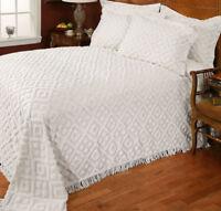 NEW Stylemaster Diamond White Cotton Chenille Bedspread and Sham Set