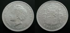 ALFONSO XIII , 5 PESETAS DE 1893 ESTRELLAS 18 - 93 . PGV . PLATA