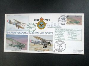 """St. Kitts - """"WAR PLANES ~ 75th ANN. OF THE ROYAL AIR FORCE"""" Flown + Signed Cover"""