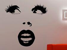 Woman Face Wall Sticker Vinyl Decal Makeup Art Fashion Beauty Salon Decor 10hezz