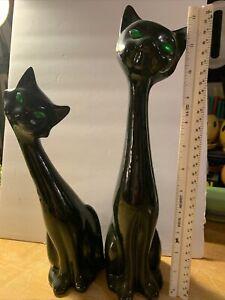 Vintage Ceramic Black Cats. Pair Of Two. Green Gem Eyes  Retro MCM