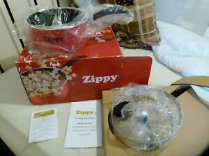 BNIB RED ZIPPY STOVE TOP SNACK POPCORN PAN MAKER WITH RECIPES