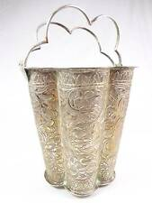 Antique 925 hand made Silver Ice Bucket with handle engraved leaves design