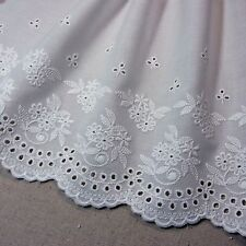 Lovely Embroidered Cotton Lace Crochet Trim Off White 8.7inch(22cm) Wide 1yd
