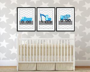 Construction Nursery Art Prints / Set Of 3 / Grey Chevron / Boys Room