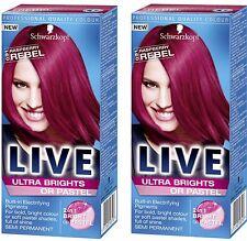 2x Schwarzkopf LIVE Semi Permanente Colori Ultra Brillanti / Pastello 91 Lampone Rebel