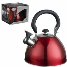 RED Stainless Steel Whistling  Tea Kettle 2.5 L Metallic Red  Alpine Cuisine