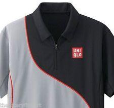 UNIQLO x Novak Djokovic 2014 Australian Open M Polo Shirt DRY-EX Gray/Black NEW!