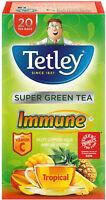 Tetley Immune Super Green Tea with Tropical Fruit Tea Bags (20) *S*