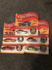 HOT WHEELS 2018 50th ANNIVERSARY RETRO REDLINE WITH BUTTON'S 5 CAR SET-UNPUNCHED