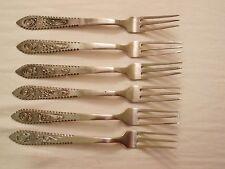 Set of 6 Vintage sterling silver .850 filigree forks with monogram