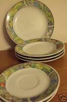 5 Piece Set with 1 Diner 3 Salad Plates & 1 Saucer Green Parrot & Flower on Rim