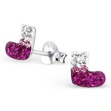 Childrens Kids Girls 925 Sterling Silver Socks Ear Studs with Crystal,Gift Box