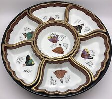 Porcelain Japanese Satsuma Sectional Dishes, Lacquer Lazy Susan Carousal (RF654)