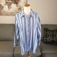 DENIM & CO womens 3X plus size blue striped button front blouse shirt top D and