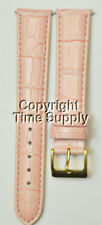 18 mm PINK LEATHER WATCH BAND CROCO WITH SPRING BARS GOLD BUCKLE