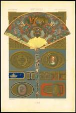 1885 ANTIQUE PRINT l'ornement polychrome Superbe Designs arts décoratifs (01)