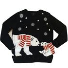 Polar Bear Sequined Ugly Holiday Sweater, Ugly Christmas Sweater
