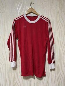 ADIDAS 70s 80s FOOTBALL SHIRT SOCCER JERSEY LONG SLEEVE sz M MENS RED LONG SLEEV