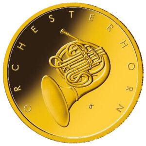 Goldmünze Musikinstrumente 50 Euro Orchesterhorn 2020 Prägebuchstabe J im Etui