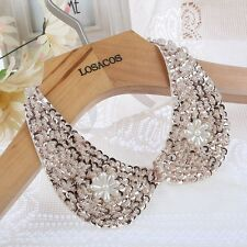 Vintage Gold Sequin beads white Ribbon Fake collar Choker statement Necklaces