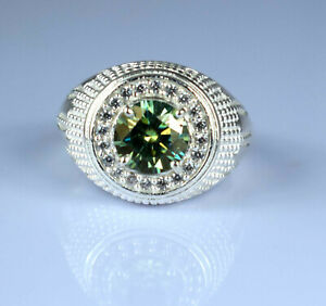 Solid Men's Style 4.16 Ct Green Diamond Solitaire Halo Ring For Birthday Gift